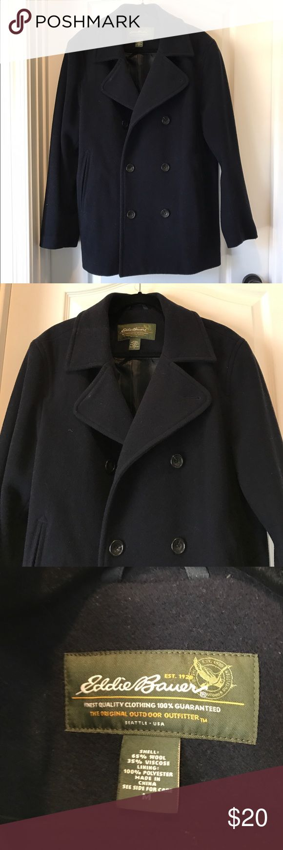 Eddie Bauer Men's Peacoat Very gently used. No damages, stains, or wearing. Lined in polyester. Outer shell is 65% wool, 35% viscose. I think the pockets are fake. Eddie Bauer Jackets & Coats Pea Coats