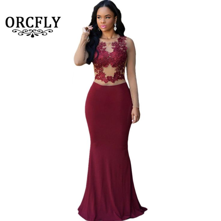 ORCFLY Women Party Dresses Elegant Autumn 2016 Sexy Claret/Royal Blue Nude Mesh Accent Patchwork Long Sleeve Maxi Dress 60831