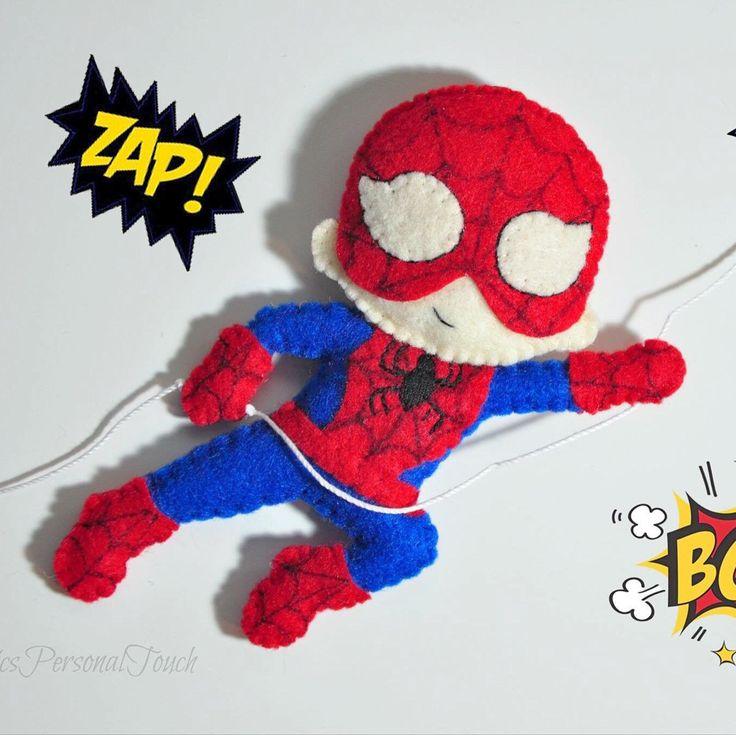 Superheroes themed felt name; Spiderman name