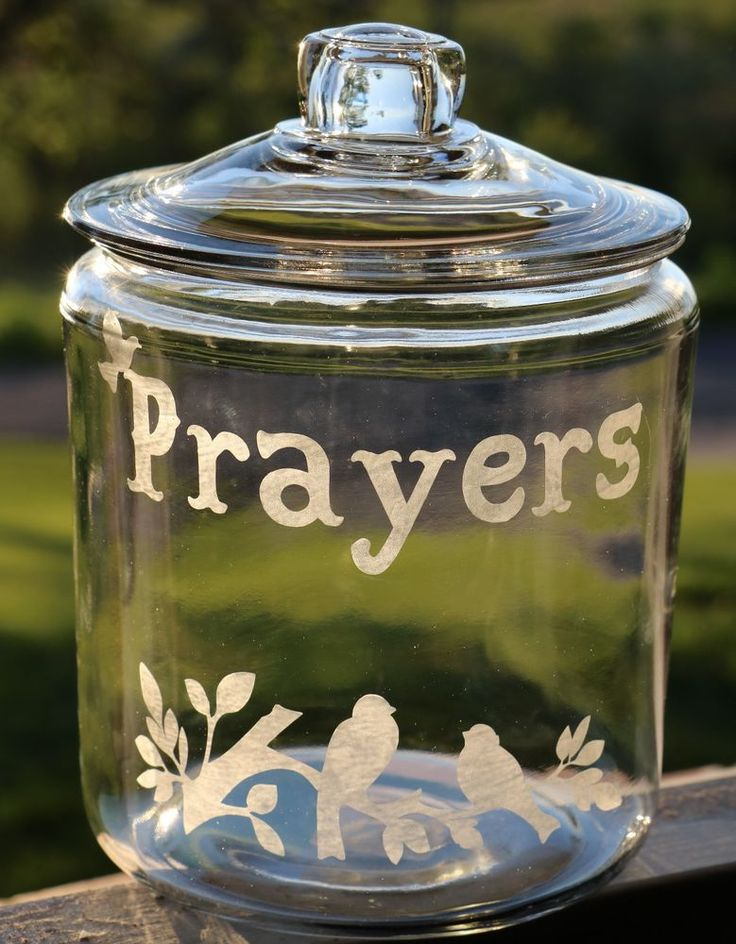 Prayers Jar Etched Glass Canister With Lid & WIth Birds