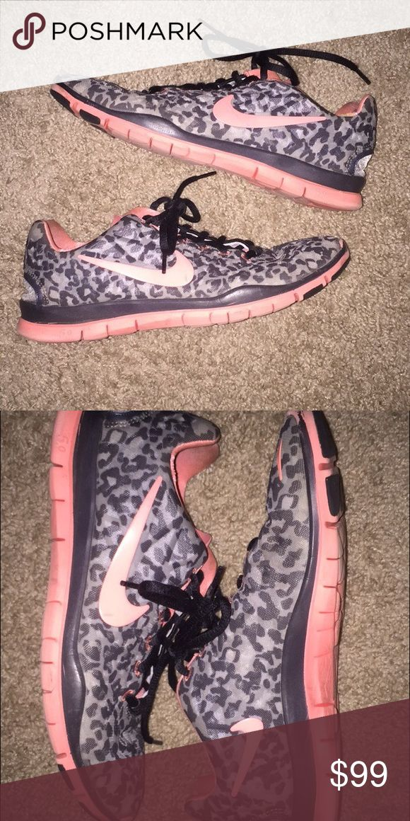 Patterned, NIKE Trainers The most beautiful of the NIKE Trainer line. Pink, Gray, Cheetah print shoes. In MINT CONDITION Nike Shoes Athletic Shoes