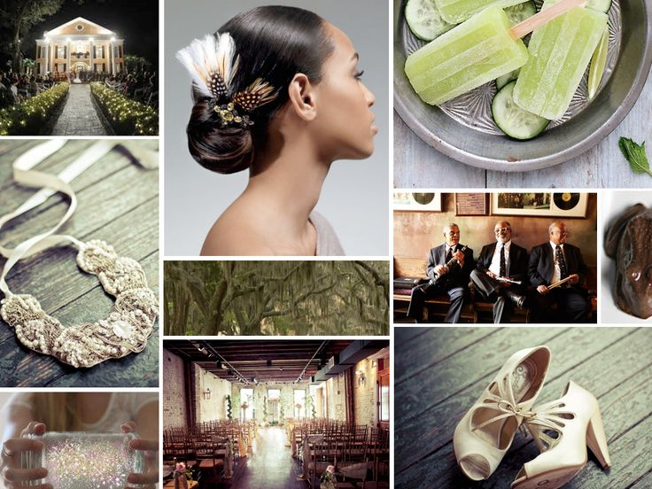 {Tiana} The Princess and the Frog themed New Orleans wedding. Tiana is our southern princess and she made waves in 2009 by becoming the first African American Disney princess, and frankly, it was about time. For your charming New Orleans wedding choose lots of green details, vintage accessories, and a southern style home.