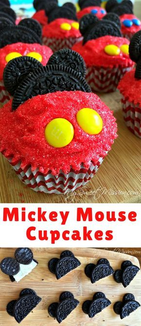 Adorable Mickey Mouse Cupcakes are moist, with the creamiest buttercream frosting, a sprinkling of red sugar, and a few decorations to make them look like Mickey himself. For a Mickey Mouse treat Mouseketeers of all ages will love!