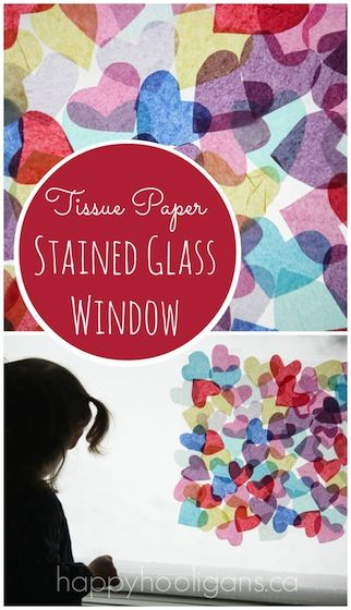 Tissue Paper Stained Glass Window Valentine's activity. Decorate a window with tissue paper hearts and contact paper for a gorgeous stained glass effect.