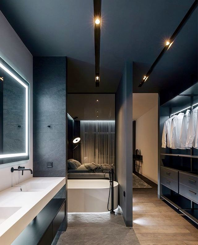 Open Plan Dressing Room And Bathroom