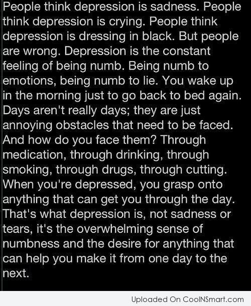 Depression Quotes On Pinterest: Depression Quote: People Think Depression Is Sadness