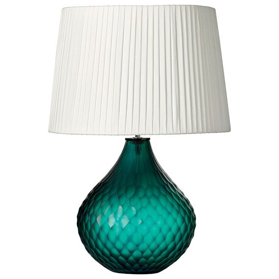 In richly coloured Tourmaline, this unique, textured matt glass lamp has a 'honeycomb' effect finish. Our glass lamps are available in a choice of shapes and finishes in a selection of rich jewel colours. We recommend a 35-45cm diameter shade for use with this lamp. Please note these lamps are heavy and must be lifted from the base to avoid breakage or injury. Lamp and shade sold separately. View our full range of shades >
