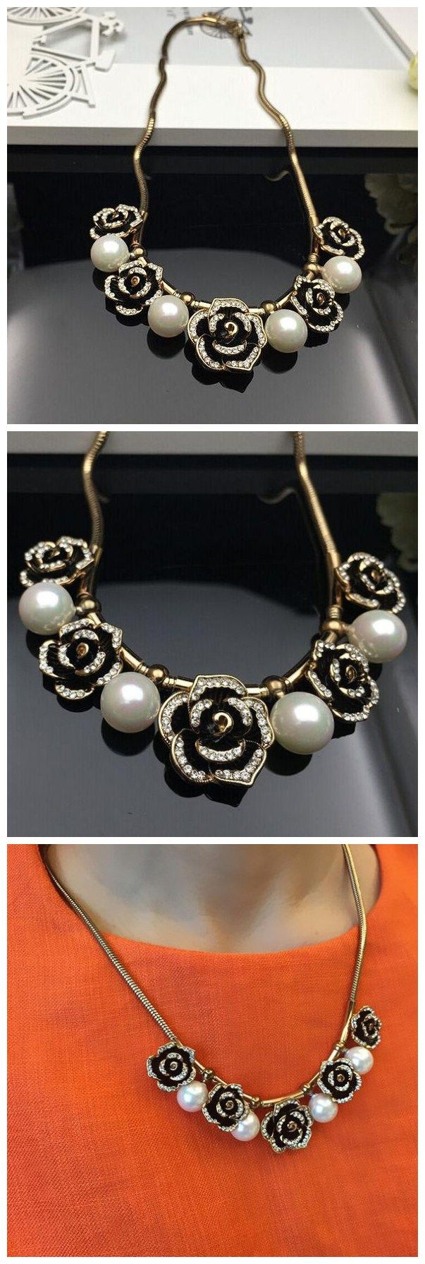Ladylike Pearls and Stereo Rose Cheap Necklace