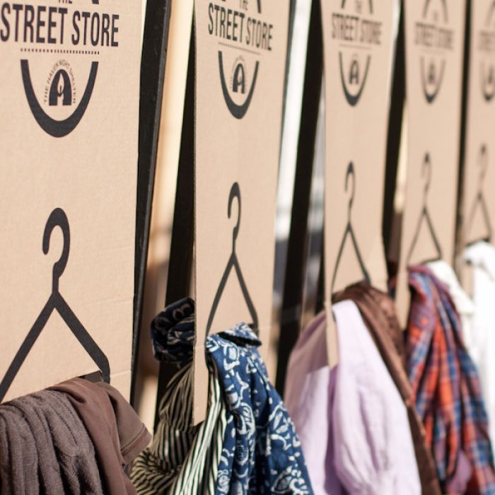 A global pop-up clothing store for the homeless arrives on the streets of Melbourne.
