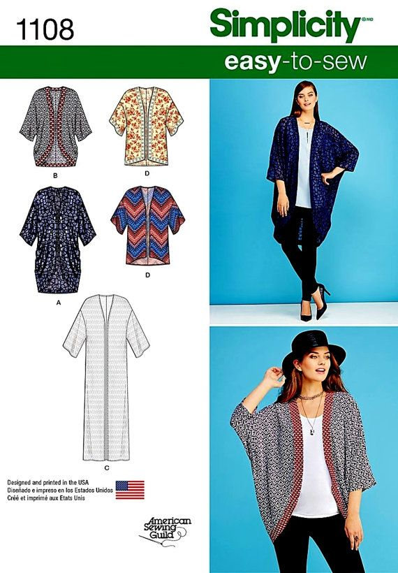 Misses' Kimonos Pattern Simplicity Sewing Pattern 1108 by blue510