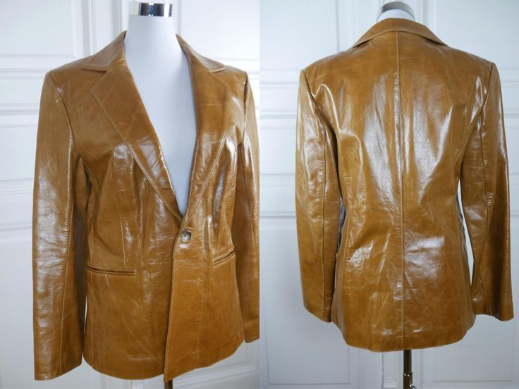 British Vintage Leather Jacket, Butterscotch Blond Single-Breasted Leather Jacket, Wide Collars, Tan Leather Blazer: Size 10 US, Size 14 UK by YouLookAmazing on Etsy
