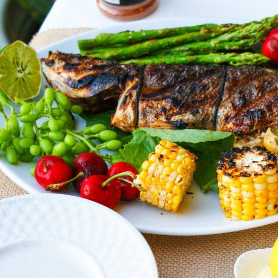 Grilled Branzino With Rosemary Vinaigrette Recipe — Dishmaps