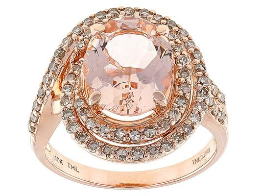 2.50ct Oval Cor-de-rosa Morganite(Tm) With .51ctw Round Champagne Diamonds 10k Rose Gold Ring