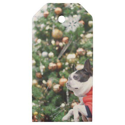Boston Terrier Pug Dog Christmas Wooden Gift Tags - christmas craft supplies cyo merry xmas santa claus family holidays