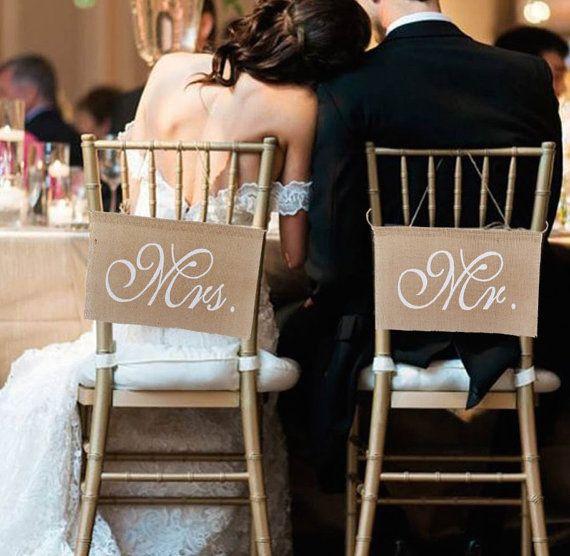 Free Shipping Khaki Mr. & Mrs. Jute Hessian Burlap Chair Banner Set Chair Sign Garland Rustic Vintage Wedding Centerpieces Decor