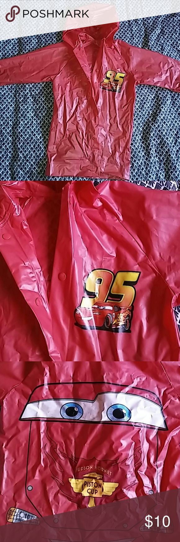 🚘LIGHTNING MCQUEEN! Cute raincoat! + free gift Lightning McQueen red plastic, one smal rip by tag Disney Pixar Jackets & Coats Raincoats