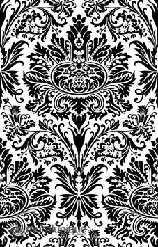 Damask Black & White 6' x 9' (1