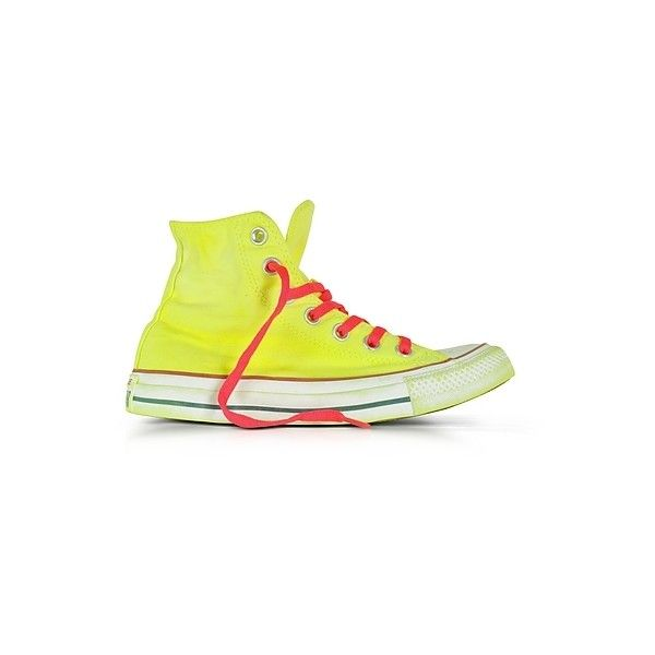 Converse Limited Edition Shoes Chuck Taylor All Star Hi Neon Yellow... ($135) ❤ liked on Polyvore featuring shoes, sneakers, yellow, yellow shoes, converse shoes, converse footwear, yellow canvas shoes and neon yellow sneakers