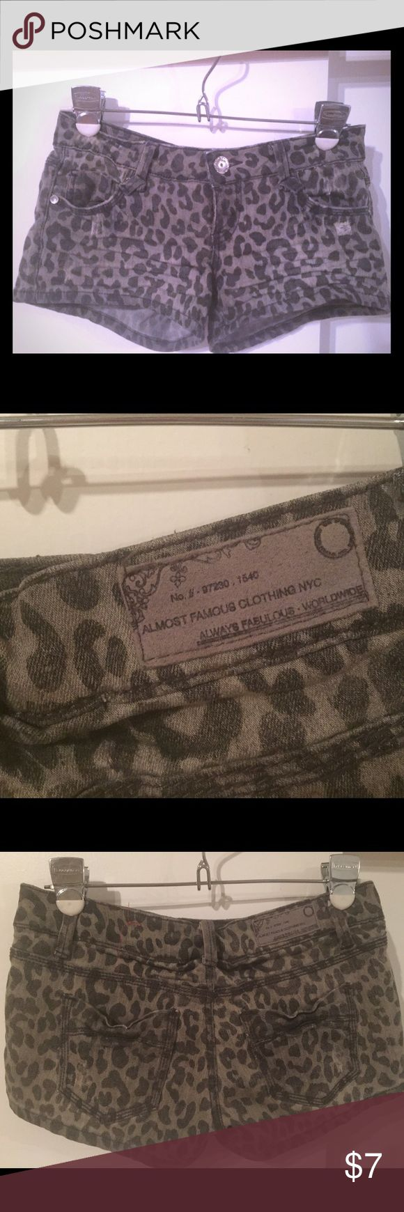 Juniors cheetah shorts Black and grey cheetah print shorts. Almost Famous Shorts Jean Shorts