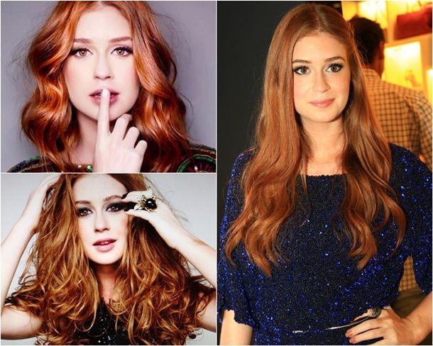 Para cabelos claros ou que são fáceis de clarear:  Keune 7.43 Majirel 7.4 Igora 7.7 Para cabelos escuros ou que são difíceis de clarear:  Majirel 8.34 Keune 8.34 Keune 9.43 Yellow 9.4  Se você tem uma 7.4 de uma dessas marcas e quer ter o cabelo da Marina Ruy Barbosa, basta comprar uma tintura na cor louro médio dourado (7.3) e fazer a misturinha abaixo:  40% de 7.4 60% de 7.3