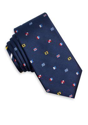 Nautica Navy Signal Flag Print Tie