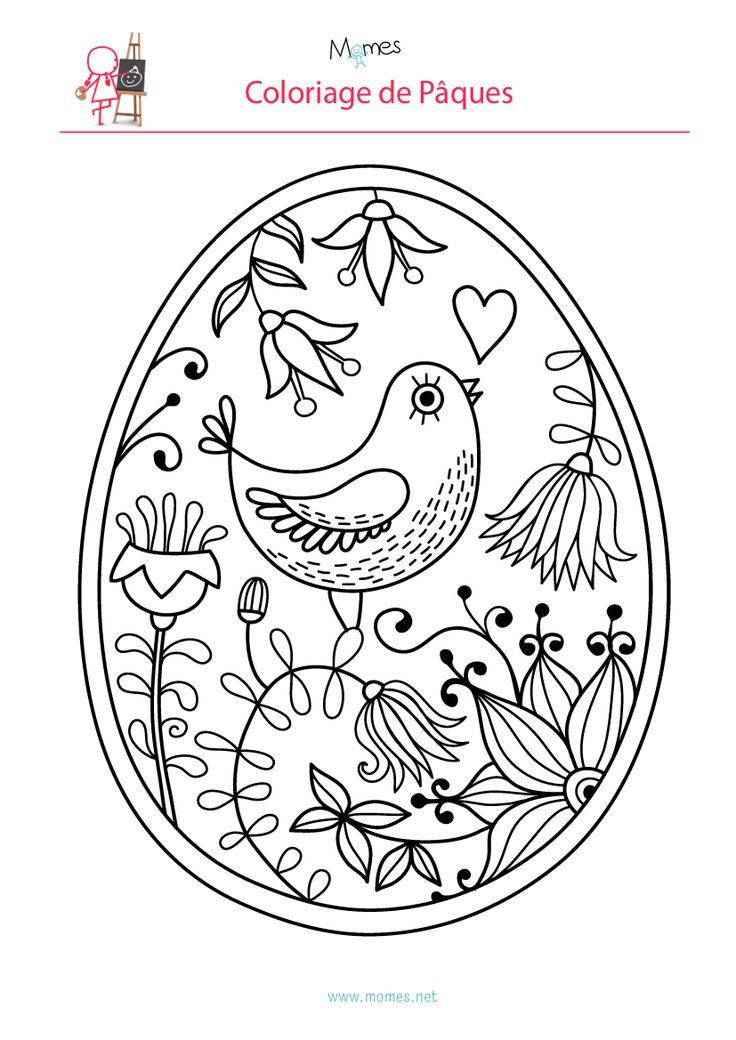 Coloriage de l'oeuf de Pâques à l'oiseau - Momes.net