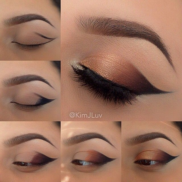 """Achieve that golden gradient smokey eye with a wonderful wing pictorial by @kimjluv  Try our Gel Liner & Smudged in 'Jet Black' with our Jumbo Eye…"""