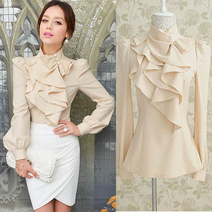 New Women Victorian Ruffle Collar Blouse Puff Sleeve Silky Luxurious Top Shirt #other #Blouse