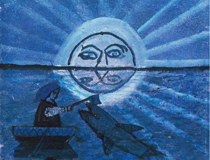 Nikifor Krynicki, Połów w świetle księżyca / Fishing in the Moonlight. Nikifor, naïve Lemko painter is to date the most famous artist of this minority. Reproduction: Marek Skorupski / Forum