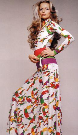 Veruschka wearing a Toucan Dress, photographed by Francesco Scavullo, 1972.