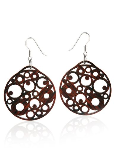 KiviMeri, Exotic Cocobolo Circle Drop Earrings with 925 Sterling Silver. #Finland