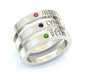 Stackable mother's rings, with the child's name and stone