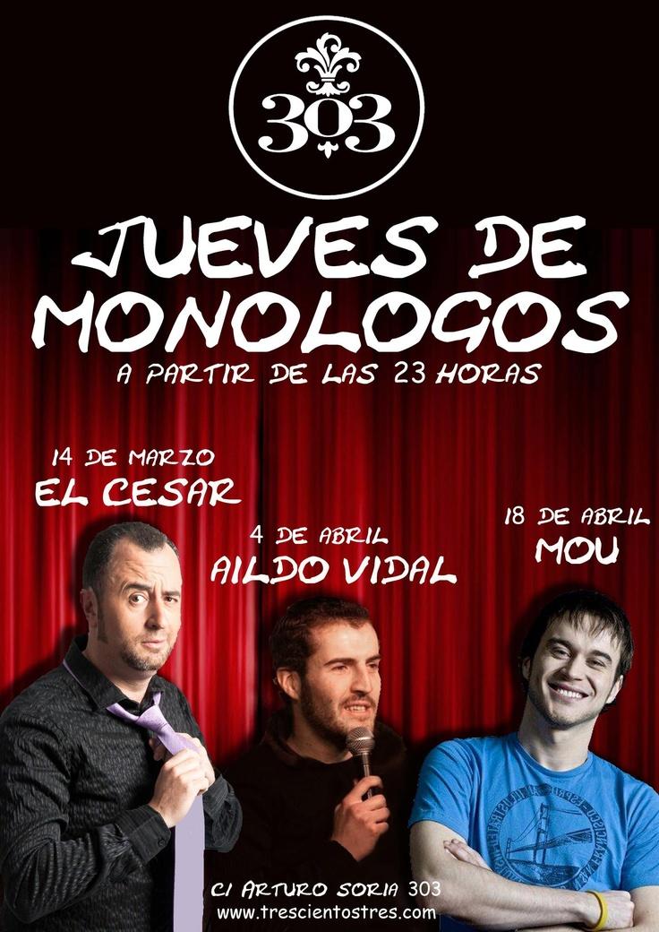 Este jueves, 18 de abril en nuestra noche de Monólogos, @moucomico en el 303 a partir de las 23 horas. Entrada gratis