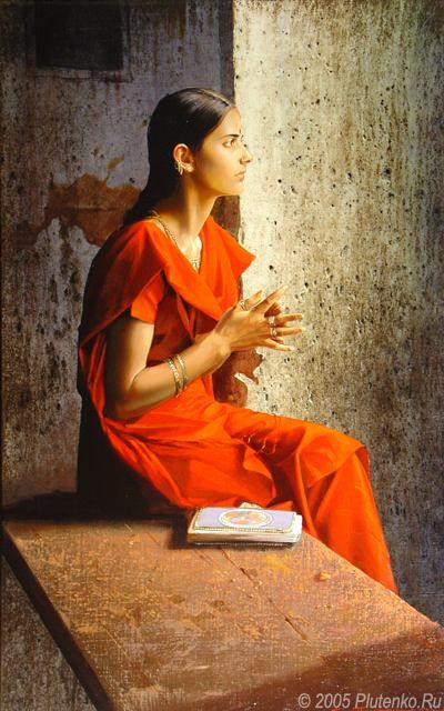 The Girl in a Red Sari (2005) by Stanislav Plutenko