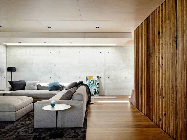 Mur en b ton banch et panneaux en bois pour une ambiance l gante d corati - Ciment decoratif interieur ...