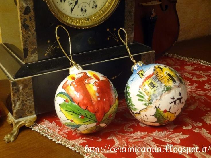 Le palline di Natale dip.a mano di ceramica hand-painted #Italy