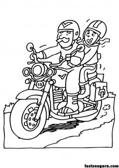free print out Grandpa drive motorcycle coloring page.
