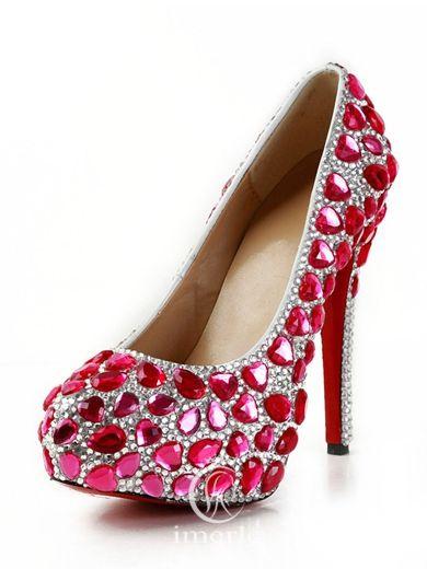 red rhinestones high heels