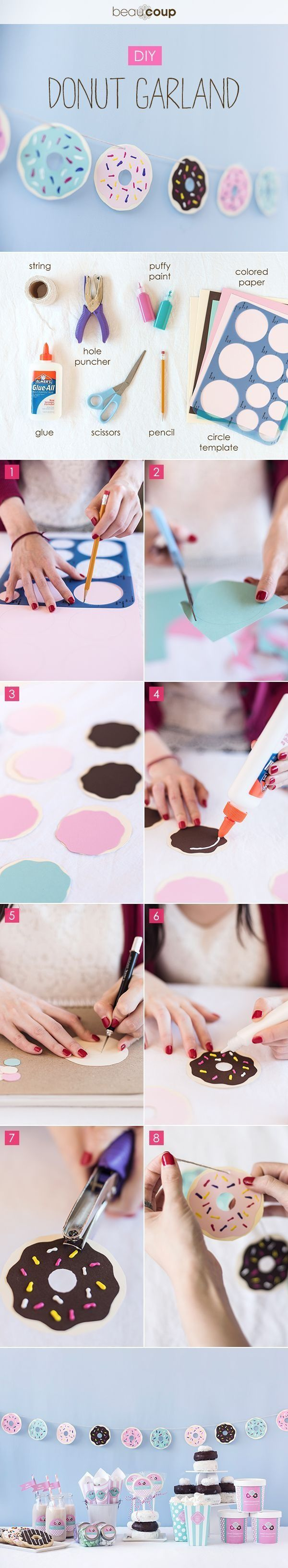 This donut garland is the sweetest! Create your own, perfect for a baking party or just for decoration!