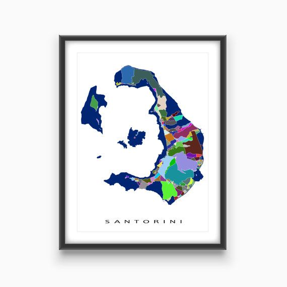 Santorini Greece / Santorini Art Map Print / Greece Map / Thira Island