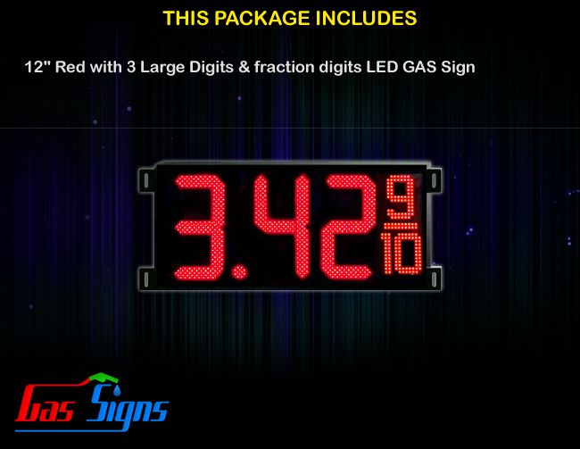 12 Inch Gas Price LED Sign (Digital) Red with 3 Large Digits & fraction digits with housing dimension H400mm x W836mm x D55mmand format 8.88 9/10 comes with complete set of Control Box, Power Cable, Signal Cable & 2 RF Remote Controls (Free remote controls).
