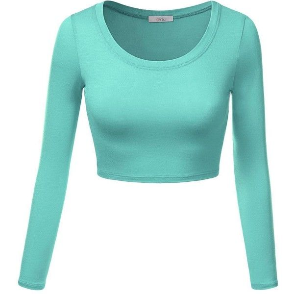 Simlu Juniors Mint Short Summer Top, Cheap Crop Top with Long Sleeves... ($14) ❤ liked on Polyvore featuring tops, mint crop top, blue top, mint green crop top, long short sleeve tops and summer tops