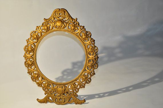 Vintage cast iron self standing oval picture frame by decor4home2