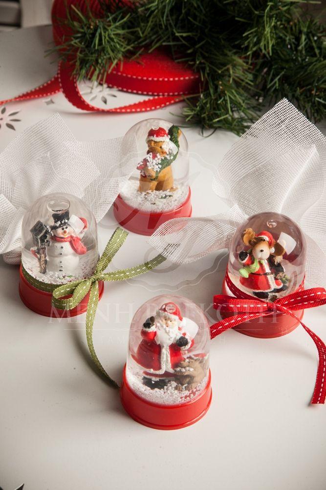 Μπομπονιέρα βάπτισης Χριστουγεννιάτικη χιονόμπαλα