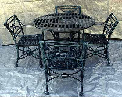 Garden And Patio Furniture, Cast Aluminum Garden Furniture 5 Piece Round  Lattice Dining Set These Part 54