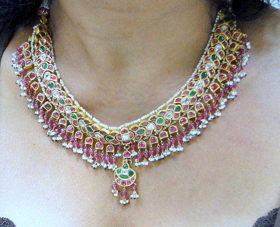 vintage antique 20 ct solid gold kundan meena by TRIBALEXPORT