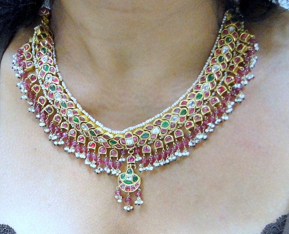 vintage antique 20 ct solid gold kundan meena by TRIBALEXPORT, $6999.00