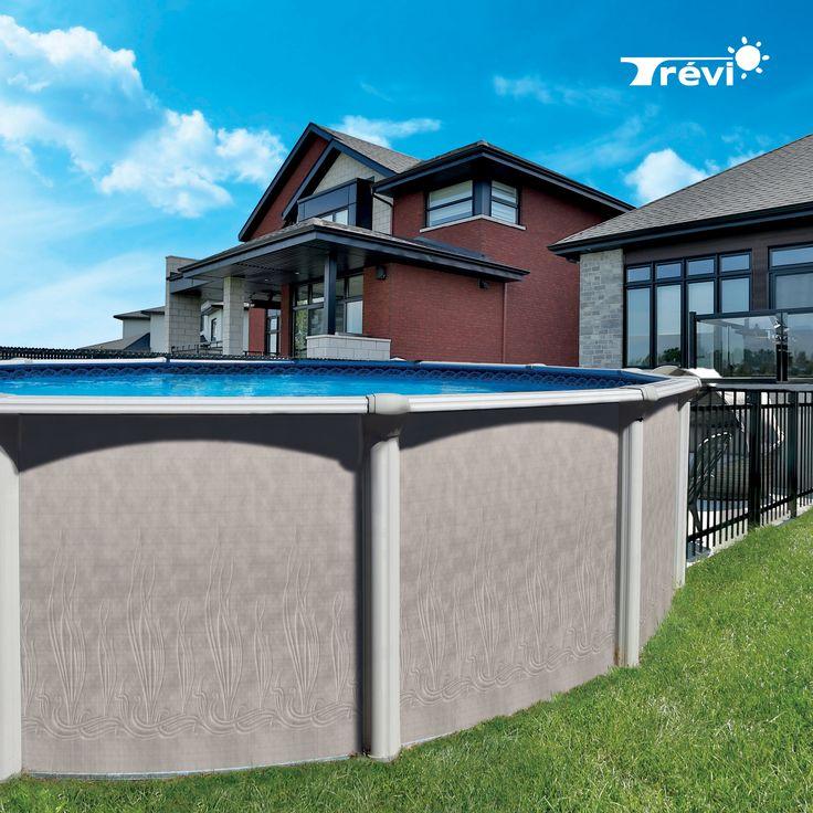 """La piscine Trévi Rio est le modèle d'entrée de gamme : c'est une option intéressante côté budget. Elle possède des margelles et des montants en acier galvanisé et ses couvre-joints sont en résine. Cette piscine d'une hauteur de 48"""" (1,22 m) ou 52"""" (1,32 m) est disponible en plusieurs choix de motifs."""