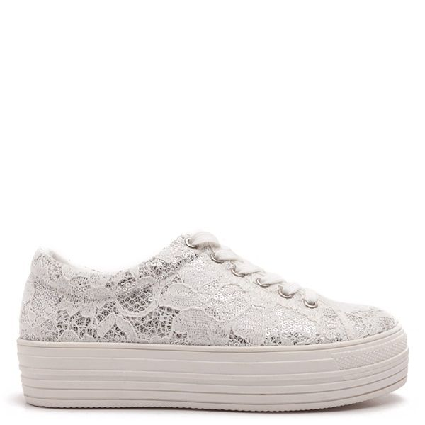 Flatform trainers in white lace over silver sequins.