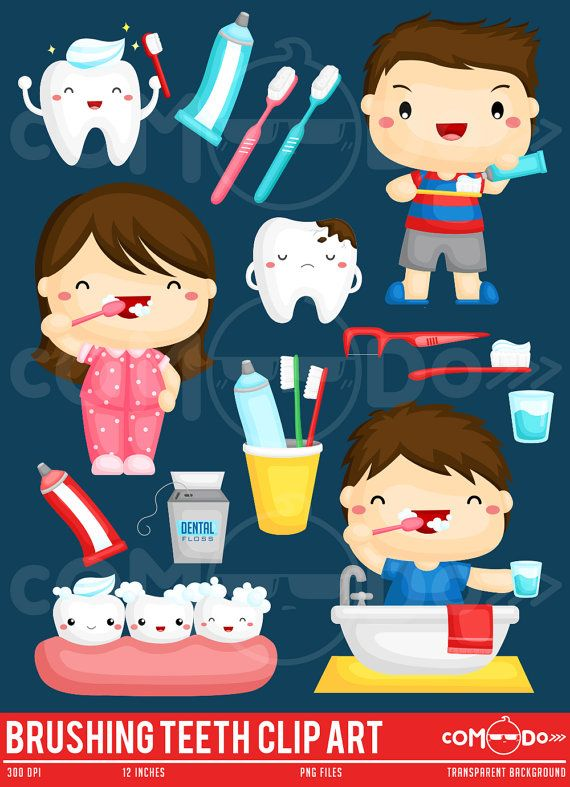 Kids Brush Teeth Cute Clipart / Brushing Teeth Digital Clip Art for Commercial and Personal Use / INSTANT DOWNLOAD
